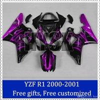 Wholesale Custom Sportbike Fairings - Purple fire flame fairing set for Yamaha 2001 2000 YZF R1 sportbike fairing 2000-2001 YZF R1 Custom Made Motorcycle Fairing