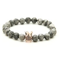 Wholesale Crown Picture - 1PCS High Grade Jewelry Micro Inlay Black CZ Beads Crown Bracelets With 8mm Grey Picture Shiny Weathering Stone