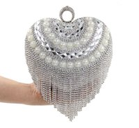 Wholesale Evening Dresses Upscale - 2016 Diamond Tassel Pearl Ring Love Heart-shaped Diamond Clutch Evening Bags Upscale Bride Pack Best Gift For Friend