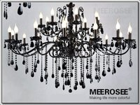 Wholesale Large Art Work - Modern Black 24 Arms Chandelier Crystal Light Fixture Large American Princess Wrought Iron Lustre Hanging Lamp MD2520 L24