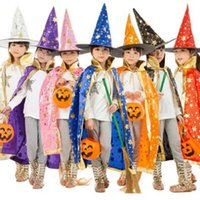 Wholesale Fancy Witches Hats - 7 Colors Children Halloween Costumes Witch Wizard Cloak Gown Robe and Hat Cap Stars Fancy Party Props CCA7108 50pcs