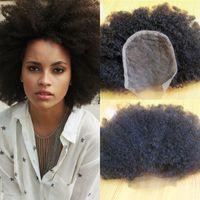 dantel üst kapatma kinky toptan satış-4b 4c Afro Kinky İnsan Saç Dantel Kapatma Brezilyalı Bakire Saç Üst Kapatma ile Bebek Saç FDSHINE