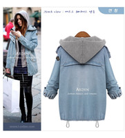 Wholesale Women Blue Jean Vest - Women Fashion Autumn Winter Two-Piece Hooded Vest Casual Loose Long Sleeve Jean Jacket