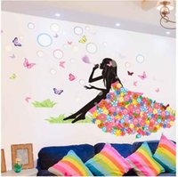 Wholesale Blow Packaging - Wall Sticker Home Decor Pretty Flower Fairy Beautful Girl Blow Bubbles 2017 Creative Design PVC Mural Decal Room Decorative