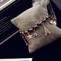 Classic Crystal Zircon Star Flower Tour Eiffel Charm Bracelet pour Femmes Vintage Gold Plated Weave Black Rope Chain Bracelet Bangle Jewelry