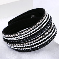 Wholesale Fine Gift Wrap - Mix 16colors Fashion Multilayer Wrap Bracelets Slake Deluxe Leather Charm Bangles With Sparkling Crystal Women Sandy Beach Fine Jewelry Gift
