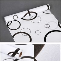 Wholesale Tv Wall Decoration - Wall Papers Printed Black Circle Floral Self Adhesive Wallpaper for Living Room Bedroom TV Sofa Background Home Decoration