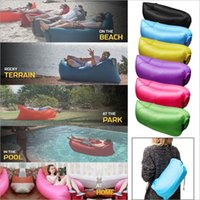 Wholesale Summer Sleep Bag - 2016 Fast Inflatable Sofa Sleeping Bag Outdoor Air Sleep Sofa Couch Portable Sleeping Hangout Lounger Inflate Air Bed 250*72cm F842