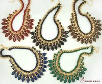 Wholesale New Popular Braided - Exaggerated Gem Tassel Necklace New Arrival Popular Hot Sale Sweater Chain Braided Rope Gem Accessories Decoration