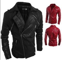 Wholesale Leather Jackets Lapels Men - Men's Fashion Jackets Slim Motorcycle Synthetic Leather Jacket Coat Outwear Top