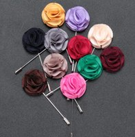 Wholesale Tin Suit - New fashion Men brooch Flower Lapel pin suit Boutonniere Fabric yarn pin 12 colors button fabric flower brooches Solid Accessories