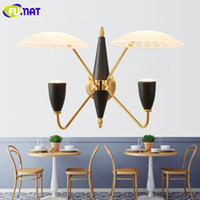 Wholesale Glass Wall Light Shades - FUMAT Wall Lamps Glass Shade Lighting Fixtures Wall Sconce Study Ailse LED Light Modern Wall Light Two Arms