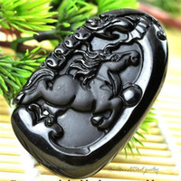 Wholesale Black Man Statue - Fashion Black Jumping Horse Pendant Natural Hand-carved Obsidian Necklace Fine Jade Statues Jewelry For Women Men Free Rope