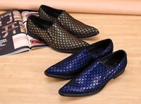 Wholesale personalized wedding shoes - Personalized Peafowl Pattern Blue Leather Shoes Fashion Pointed Toe Slip On Flat Shoes Business Leisure Party Wedding Shoes