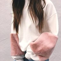 Wholesale Girl Two Color Hoodies - 2017 Fashion Two Color Contrasted Short Women Sweatshirts Batwing Sleeves Pullover Women Casual Hoodies Sports Clothing For Girls FS1988