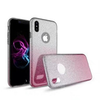 Wholesale Iphone Case Shimmering - 3 in 1 Bling Hybrid Soft TPU+Glitter Paper+Hard PC Plastic Powder Shimmering skin cover Case For Iphone X
