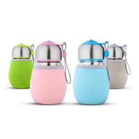 Wholesale Drinking Glass Tea - 400ml Portable Glass Water Bottle With Tea Infuser and Cover Penguin Shape Child Cup Outdoor Sports Travel Bottles ZA1346