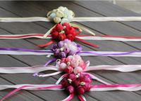 Wholesale Simulation Flowers Wrist - Bridal bride wrist Flower Brooch Korean Wedding Bridesmaid hand sisters flower cloth simulation 8cm