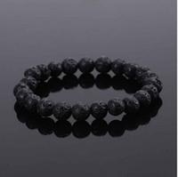 Wholesale claw unisex white resale online - New Fashion Unisex Black Beads Beaded Rock Elastic Bracelet Bangle Gift Mens Retro Lava Stone