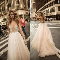 Wholesale simple wedding dresses illusion neckline online - 2018 Sexy Deep V Neck See through Backless Wedding Dresses Illusion Neckline Tulle Floor Length Beaded Flowers Bridal Gowns
