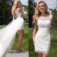 Wholesale Cheap Casual Winter Mini Dresses - 2016 Short Wedding Dresses with Detachable Over Skirt Vintage Lace Jewel Neck Backless Casual Mini Garden Beach Bridal Gowns Cheap Plus Size