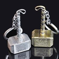 Wholesale Classic Cars Souvenir Gift - Thor Hammer Keychain Superhero The Avengers Figure Metal Key Chain Keyring Key Rings Gifts for Men Creative Trinket Souvenir