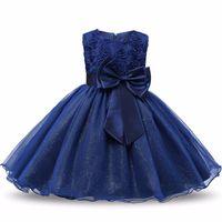 ingrosso vestiti principessa blu-Paillettes a fiori Abiti da principessa Toddler Girls Summer Halloween Party Girl Tutu Dress Abiti per bambini per ragazze Abiti da sposa