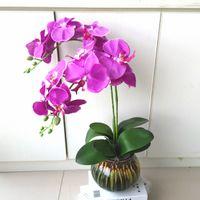 Wholesale Phalaenopsis Fabric Flowers - Artificial flowers white Phalaenopsis silk flower 40''8flowers wholesale China Orchid fo Home decoration festive decorationsGarden equipment