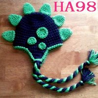 Wholesale Dino Hats - Dinosaur Winter Knitted Hat Crochet Baby Boys Girls DINO Hat Children Christmas Headwear Cotton Newborn Toddler Infant Kids Cap Photo Props