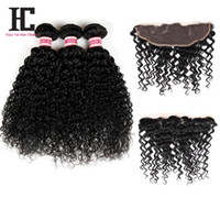 Wholesale Wholesale Hc - 8A Brazilian Kinky Curly Lace Frontal Closure with Bundles Brazilian Virgin Hair With Closure HC Hair 3 Bundles With Lace Frontal