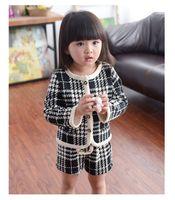 Wholesale Kids Christmas Cardigan - Girls Sets Christmas Kids Clothing 2016 Autumn Girls Long Sleeve Cardigan Coat + Stripe Short 2 Pieces
