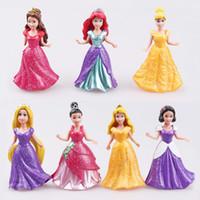 Wholesale Girls E Clothing - 14pcs  Set Princess Snow White Pvc Action Figure Ariel Belle Rapunzel Aurora Toys Dolls Dress Clothes Changeable 8 ~9cm #E