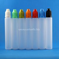 tek boynuzlu meyve suyu şişeleri toptan satış-100 Takım / grup 30 ml UNICORN Plastik Damlalık Şişeler Çocuk Geçirmez Uzun Ince Ucu PE e Sıvı Buhar Suyu e-Liquide Için Güvenli 30 ml