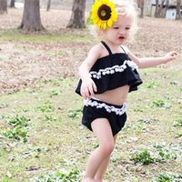 Wholesale Kid Girls Fashion Tops - New Baby Girl Summer Clothing Set Ball Halter Tops+PP Pants Girls 2pcs Set 2016 New Fashion Kids Clothes Outfits