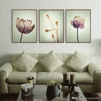 More Panel paintings lotus flowers - Modern Minimalist Lotus Purple Drawing Rural Floral Cottage Bedroom Wall Art Plant Flower Poster Prints Canvas Painting Gifts