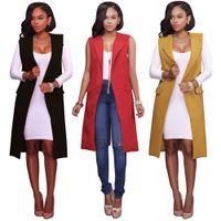 Wholesale Long Blazer For Women Red - Vest female red yellow black women open stitch pockets jacket woman vests 2017 New long waistcoat fashion blazer for female