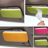 Wholesale car sun shades clips for sale - Group buy Bathroom Car Sun Visor Sun Shading Board car Tissue Box Plastic Hanging Pumping Paper Napkin Holder with Clip Pink Green Orange
