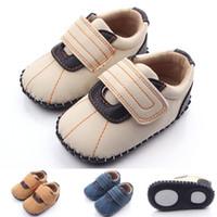 kız bej ayakkabıları toptan satış-2016 Yeni Toptan Yüksek kalite Nubuk deri Ayakkabı Katı Mavi Beyaz Bej Üst Sert Taban Bebek Ayakkabı Kız ve Erkek için