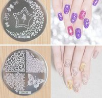 Wholesale Steel Art Stamp - Nail Art Round Stainless Steel Plates DIY Polish Templates Nail Tools OM series
