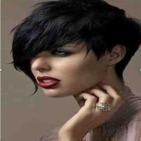 kıvırcık patlama perukları sentetik saç toptan satış-Yeni Siyah 1B renk Yan Bang Kısa Kıvırcık Weman Sentetik Saç Peruk Doğal Peruk Rihhna Tarzı