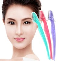Wholesale Abs Hair - ABS&stainless Green Purple Red 3Pcs Stainless Eyebrow Face Razor Shaver Shaper Hair Remover Eyebrow Trimmer free shipping