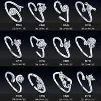 Wholesale Zodiac Rings - New Zodiac 925 Sterling Silver Jewelry Rings Women Girl With Rhinestone Opening Retro Ring In Europe And America Couples Ring