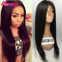 2016 Prix de gros Straight Full Lace Hair Hair Perruques Glueless Full Lace Front Perruques avec queue de cheval Brazilian Virgin Hair Wigs