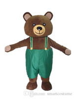 Wholesale Green Bear Mascot Costumes - SX0725 100% positive feedback a brown bear mascot costume with green suspender pant for adult to wear