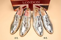 Wholesale new mens casual shoes oxford - NEW popular Men's wedding shoes Mens Patent leather shiny Color matching shoes Unique men casual shoes T123