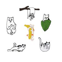 Wholesale novelty badges for sale - Group buy Oil Dripping Brooch Cartoon Cat Badge Cute Little Kitty Different Pose Delicate Enamel Pin Clothing Decor Novelty Gifts hq F R