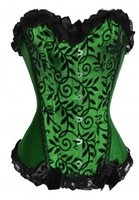Wholesale Clearance Bustiers - Wholesale-free shipping Clearance Cheapest Lady Boned Bust Basque Gothic Burlesque Overbust Corset Bustier Green PLUS SIZE S-6XL