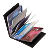 Wholesale Wholesale Acrylic Business Card Holders - Wonder Wallet Amazing Slim RFID Wallets Black PU Leather 24Cards Fashion Business Credit Card Holder Wallet With Retail Package