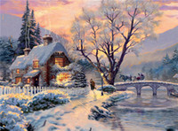 Wholesale Paintings Houses - Needlework Diy diamond painting cross stitch kits full resin square diamond embroidery Mosaic Home Decor forest snow house garden zxh0383