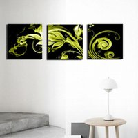 Wholesale Romance Paintings - Canvas Print Abstract Floral Romance Green Petal Set Oil Paintings 3-pieces Landscape for Living Room Home and Wall Decoration